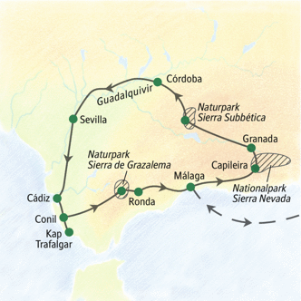 Unsere Reiseroute durch Andalusien
